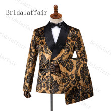 Men Suits Tuxedo Flower Brown Prom-Dress Groom Velvet Party Black 3-Pieces Double-Breasted