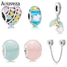 Aouveza nova série arco-íris bolha mista diy grande buraco contas se encaixa pandora charme original prata 925 pulseira jóias femininas