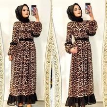 Islamic Clothing Dresses Turkey Muslim Maxi Arabic Fashion Women Casual Print Leopard