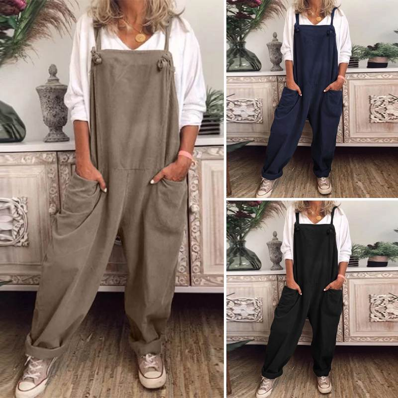 2020 Vintage Suspender Rompers Womens Jumpsuit ZANZEA Office Lady Wide Legs Jumpsuits Solid Pockets Overalls Long Playsuits 5XL