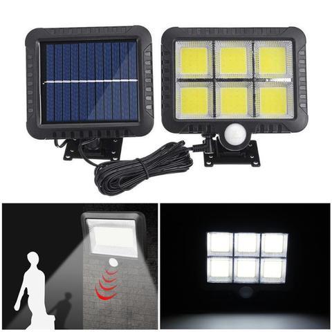 cob 100 120 led solar luz pir sensor de movimento lampadas parede ao ar livre