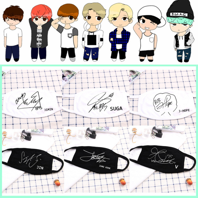 Kpop Mouth Face Mask Dustproof  Idol Signature V Suga Jimin Name Logo  Bangtan Boys for Women Men Unisex Black Masks