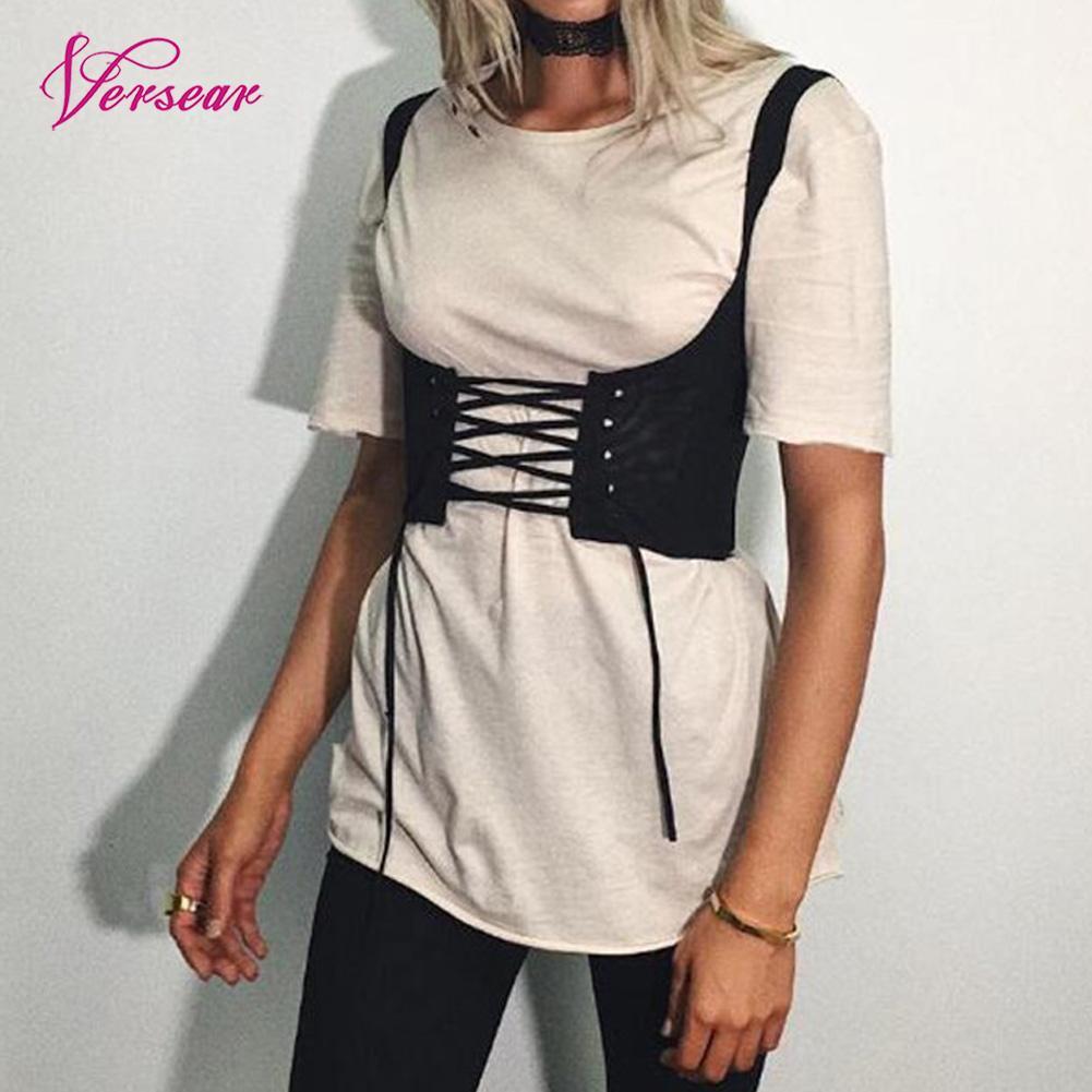Waistband Corset Women Lace-Up Belt-Tank Eyelet Shoulder-Tie-Up Front-Back-Zipper