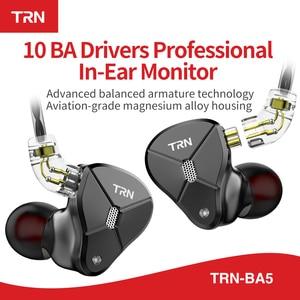 Image 2 - Date TRN BA5 10BA écouteur 5 Armature équilibrée HIFI moniteur Sport métal casque détachable câble TRN V90 V80 ZSX C12 AS10 ZS10