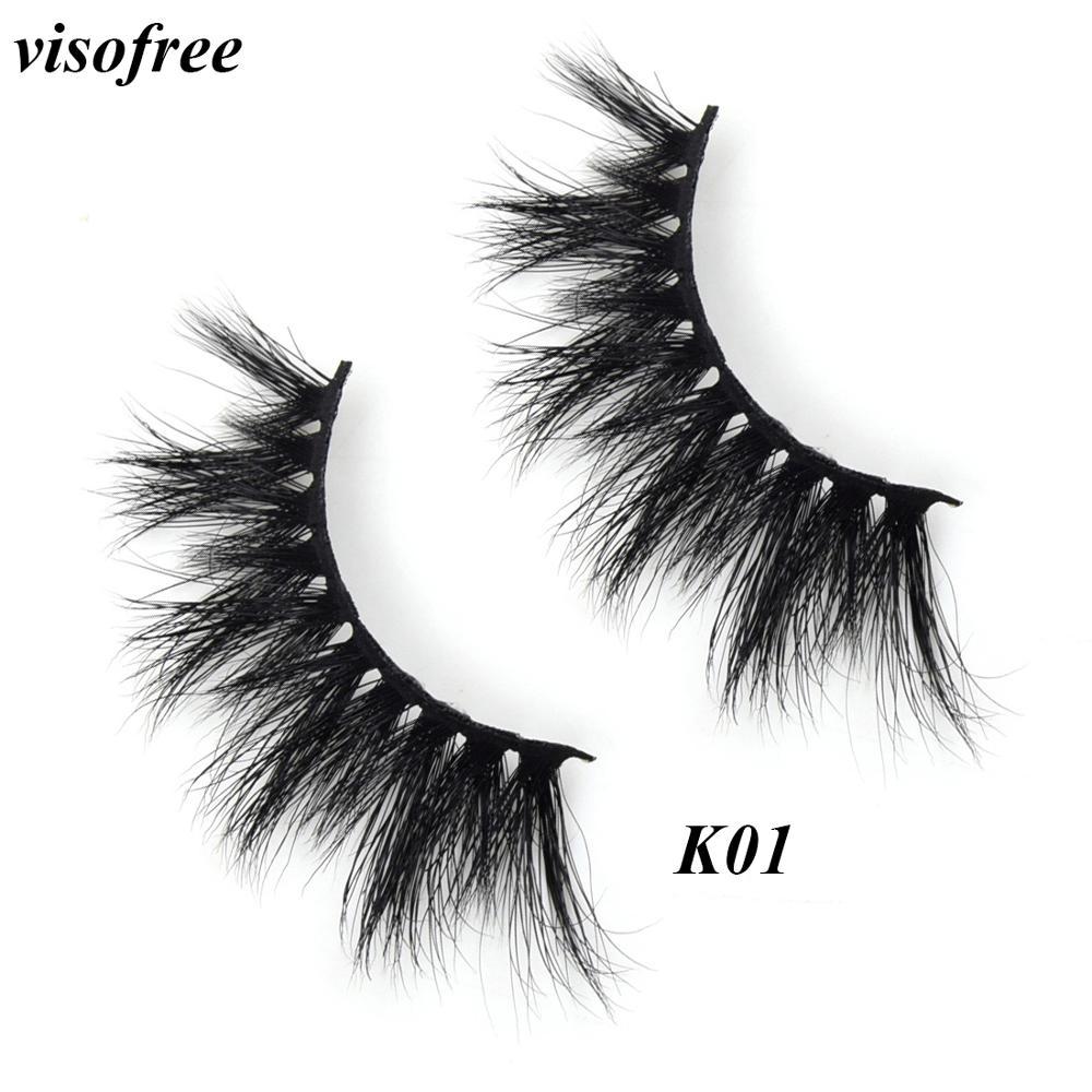 Visofree Eyelashes Mink Cruelty Free 3D Lashes Reusable Thick False Makeup Extension Eyelash Tools K01