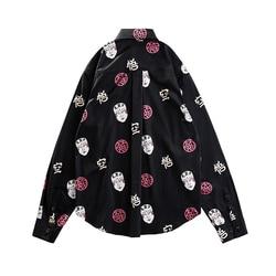 Vrouwen Mannen Shirts Casual Mode Revers Print Lange Mouwen Shirt Top Blouse Hoge Kwaliteit Mannetjes Sociale Shirts Comfortabele Plus Size