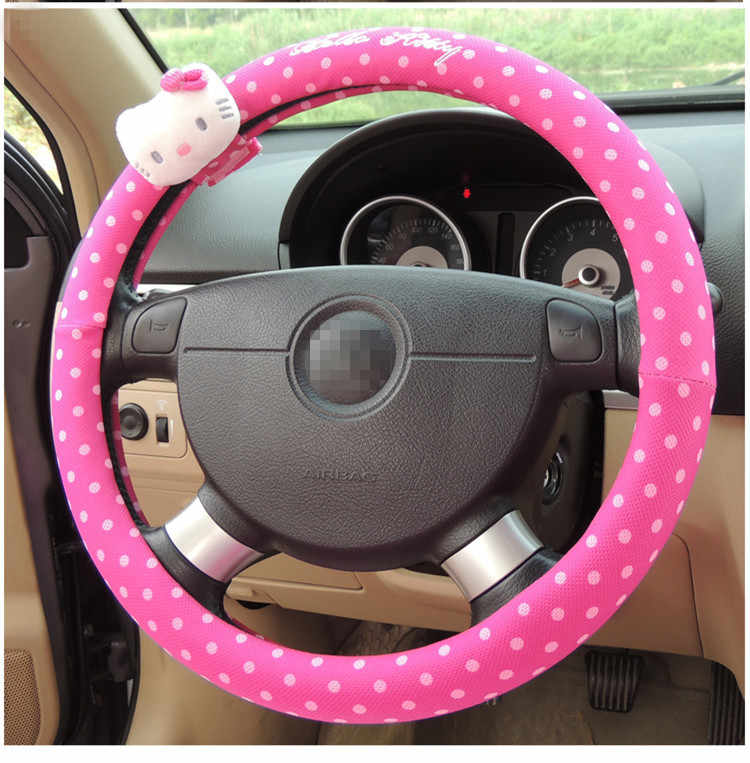 1Pcs Lovely New Cartoon Hello Kitty Cat Bow Plush Car Steering Wheel Cover 38CM