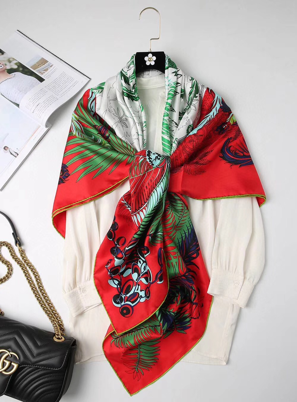 2020 New Arrival Fashion  Brand Classic  Pattern  100% Silk Scarf 140*140 Cm Square Shawl Twill Wrap For Women  Free Shipping