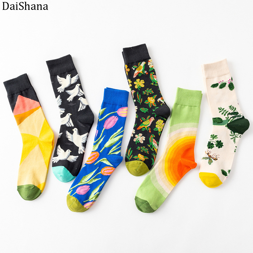 DaiShana 1 Pair New Arrival Women Socks Harajuku Creative Flower And Bird Sketch Print Cotton Socks Funny Casual Fashion Happy Mid Socks European And American-Style INS Network Red Tide Socks Mujer Calzini Donna