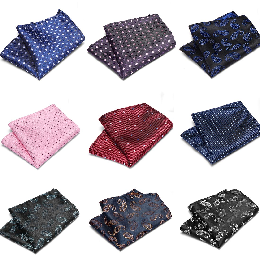 Men's Handkerchief Polka Dot Striped Floral Printed Hankies Silk Hanky Business Wedding Pocket Square Chest Towel 22*22CM