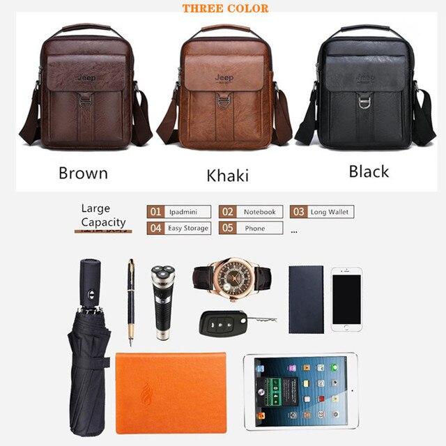 Мужская деловая сумка JEEP из искусственной кожи с ремнём на плечо и ручкой для переноски 3