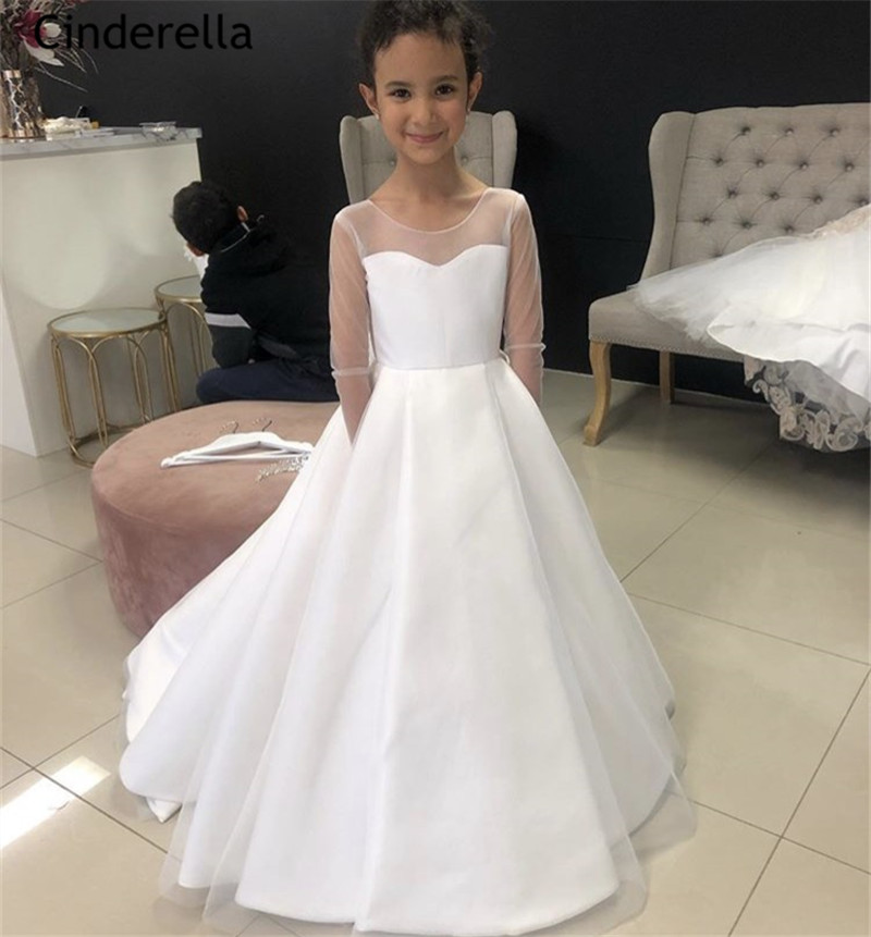 Cinderella Lovely Scoop Long Sleeves A-Line Satin   Flower     Girls     Dresses   With Hand Made Bow Hot Little   Girls   Wedding Party   Dresses