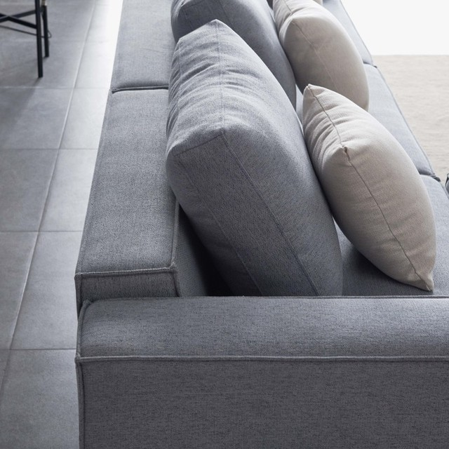 L-Shape Sofa Linen Sectional With Wide Armrest-Grey Modern Living Room Decorative Fast Shipping 6