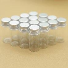 Botellas de cristal pequeñas de tapón roscado plateado, frasco de almacenamiento, frascos pequeños de vidrio, Mini envases, 50 Uds., 22x50mm, 10ml