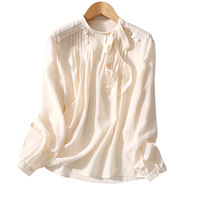 Women Shirt Spring and Summer New Elegant Pleated Comfortable Silk Double Crepe Ladies Shirt