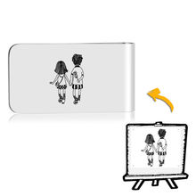 Custom Lady Money Clip Photo Handwriting Gift Stainless Steel metal Clips Ultra-thin Cash Wallet