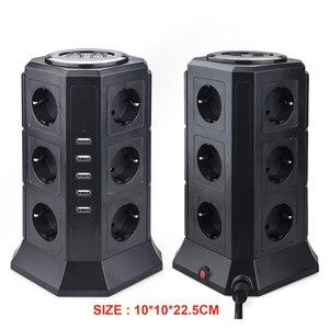 Image 4 - Torre multi tira de energia vertical plug ue 12 vias tomadas com usb protetor contra surtos proteção circuito 2m cabo extensão