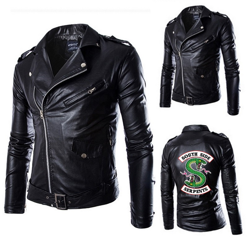 2019 New Autumn Men's PU Leather Riverdale Southside Serpents Jacket For Men Fitness Fashion Male Suede Jacket Casual Coat