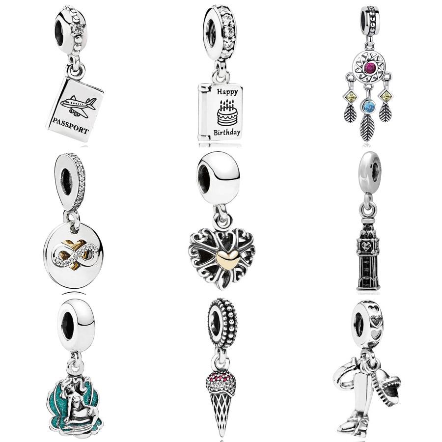 Birthday Wishes Passport Dreamcatcher Heart Of Infinity Big Ben Pendant Charm Fit Pandora Bracelet 925 Sterling Silver Beads(China)
