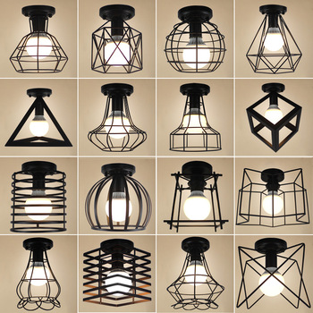 Vintage Ceiling Lights Lustre Luminaria Led Ceiling Lamp Loft Iron Cage Fixtures Abajur Home Lighting Plafonnier For Living Room