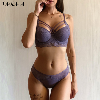 Fashion Bandage Brassiere Black Push Up Bra Panties Set Lace Lingerie Embroidery Thick Cotton Underwear Set Women Bras Sexy 1