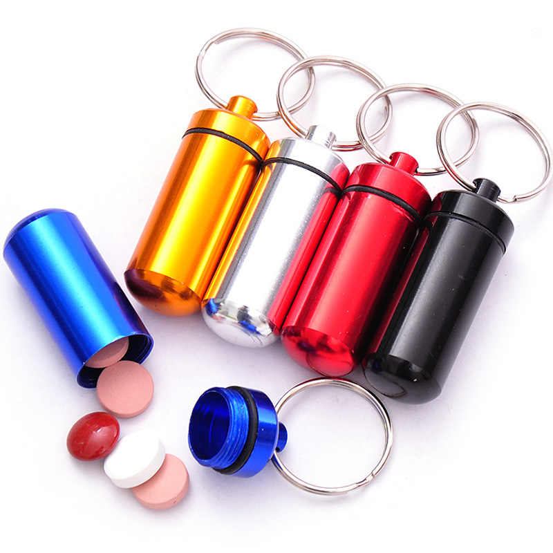 1Pcs Silver Mini Waterproof Case EDC Outdoor Emergency medicine Drug Box Tank Keychain Pill Holder Emergency Holder Key Chain