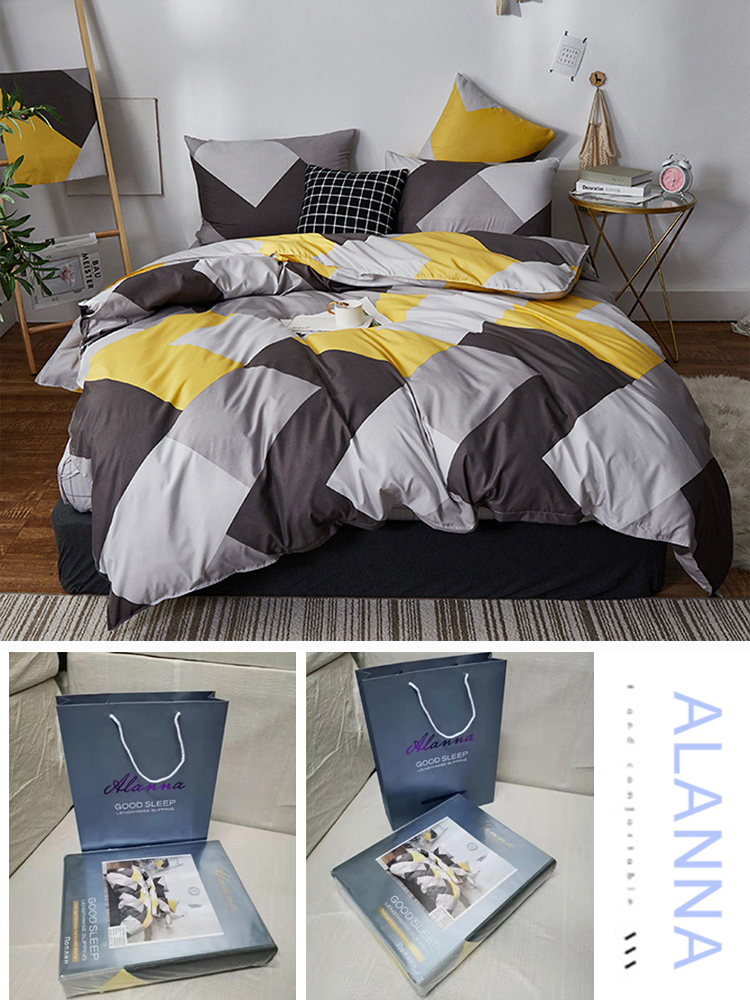Alanna Quilt-Cover Pillowcase Bedding-Set Bed-Sheet Double-Sided-Pattern Fashion Pure-Cotton