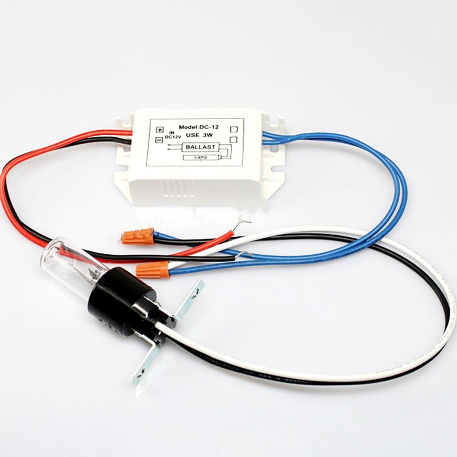 CNLIGHT Capacitor UV Bulb Sterilizing Lamp UVC 254nm 10V 3W AC/DC 110V/220V 12V Set