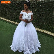 Gorgeous Africa White Wedding Gowns Off Shoulder Appliques Lace Beaded Ball Gown Wedding Dress Church Custom Made Bride Dresses