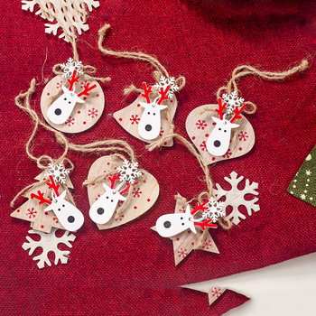 3PCS Multi Lovely DIY Christmas Wooden Pendant Ornaments Wood Craft For Xmas Tree Ornament Christmas Party Decorations Kids Gift image