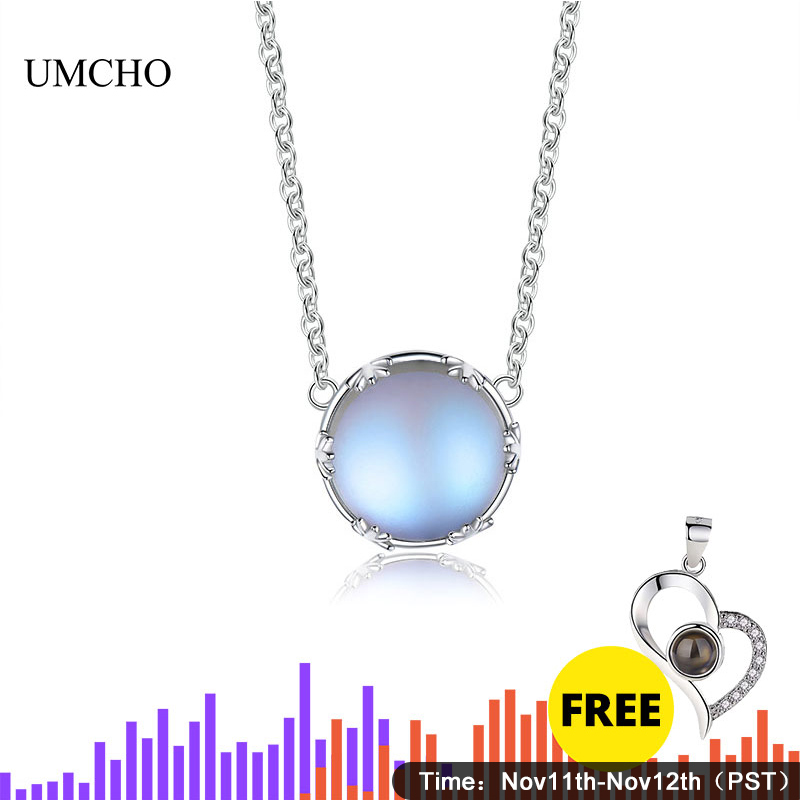 UMCHO  s925 Silver Aurora Pendant Necklace Halo Crystal Gemstone Scale Light for Women Elegant Jewelry Gift
