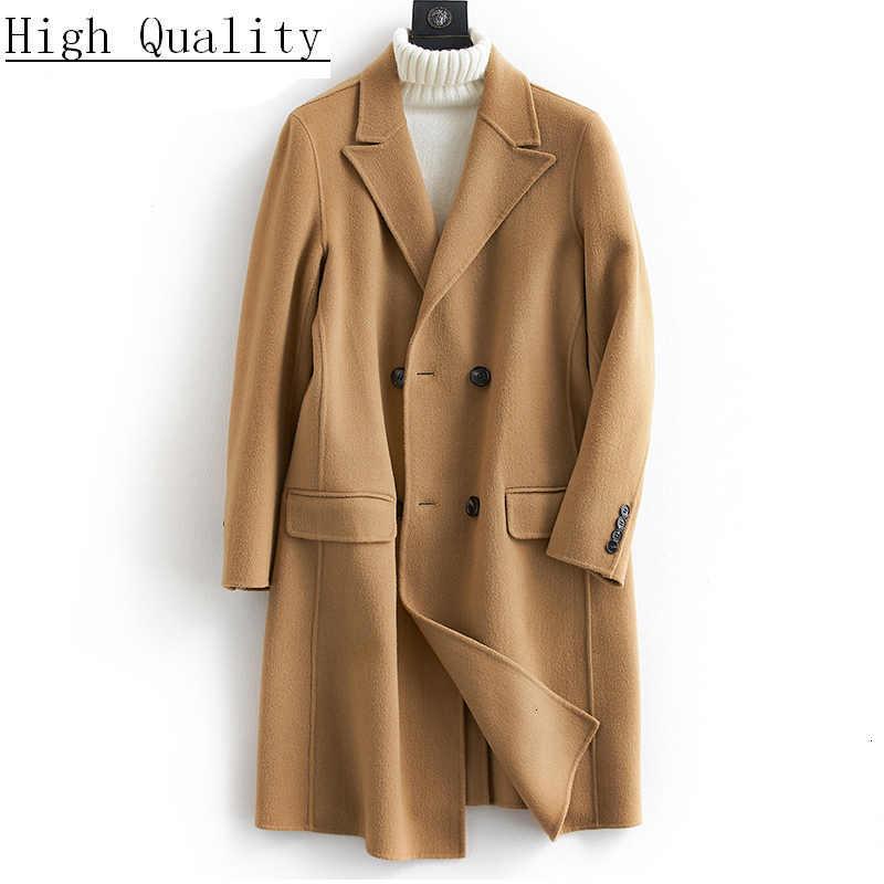 Wool Coat Men Korean Spring Autumn Coat Jacket Double Breasted Long Jacket Men Overcoat Abrigo Hombre VVCQISOy KJ1587
