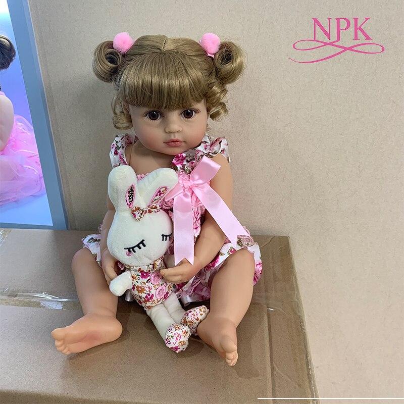 55CM original NPK reborn bébé enfant en bas âge fille princesse poupée en rose jupe réaliste très doux corps complet silicone poupée bain jouet cadeau