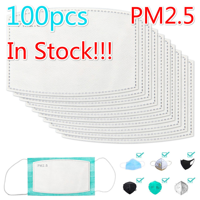 100PCS 5 Layers PM2.5 Activated carbon filter Windproof Mouth-muffle Protective Filter Media Insert for mouth Mask