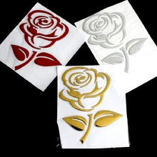 PVC Logo Sticker Decal Flowers-Art Rose Reflective Car 3d-Silver/golden-Stereo 1PCS Cutout