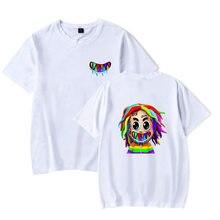 6ix9ine T Hemd Rapper Tekashi 69 Gooba Männer Frauen T Shirt Kurzarm Hip Hop T-shirt Übergroßen Tekashi69 Regenbogen Baumwolle drucken