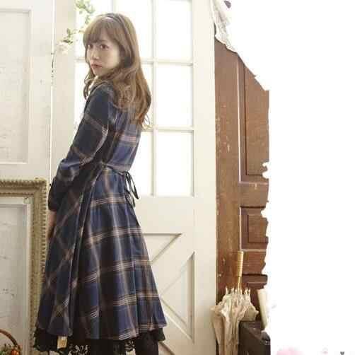 Mori fille robe à carreaux femmes dentelle noeud ruban robe à volants automne douce Lolita robe femme à manches longues robe Vestidos AF734