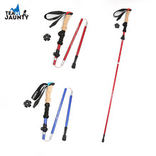 Three section folding telescopic Climbing Stick EVA imitation cork straight handle light outdoor walking alloy walking stick outdoor anti fall cane folding blind stick 4 sections folding blind guide cane aluminum walking stick w climbing goods