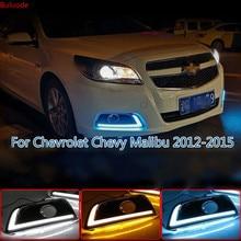цена на 2PCS For Chevrolet Chevy Malibu 2012-2015 Driving DRL with turn signal Daytime Running Light fog lamp Relay Daylight car styling