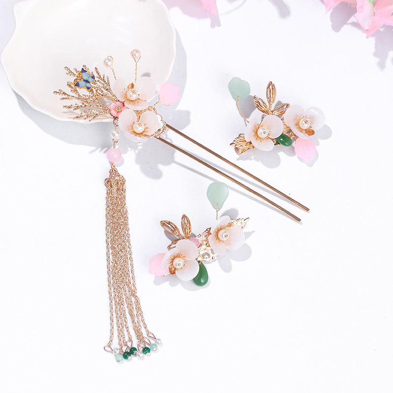 Ancient Chinese Hairpins Hanfu Dress Tassel Step Shake Flower Hair Sticks Forks Clips Bride Noiva Wedding Hair Jewelry FORSEVEN