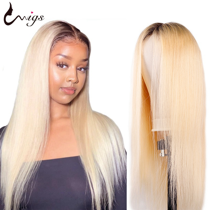 1B 613 Ombre Straight Lace Front Wig 13X4 Glueless Blonde Lace front Human Hair Wigs Pre Plucked Brazilian Remy Wigs 180 Density image