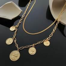 Colar de pingente de cinco moedas de prata de ouro feminino elizabeth rainha esculpida colar de corrente dupla design jóias acessórios