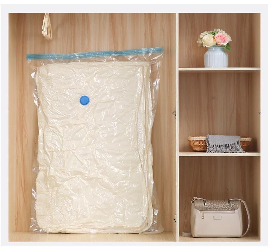 Домашний удобный вакуумный мешок для хранения одежды с клапаном Прозрачный складной сжатый Органайзер