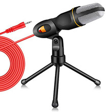 Microphone 3.5mm Plug Home Stereo MIC Desktop Tripod for PC YouTube Video Skype Chatting