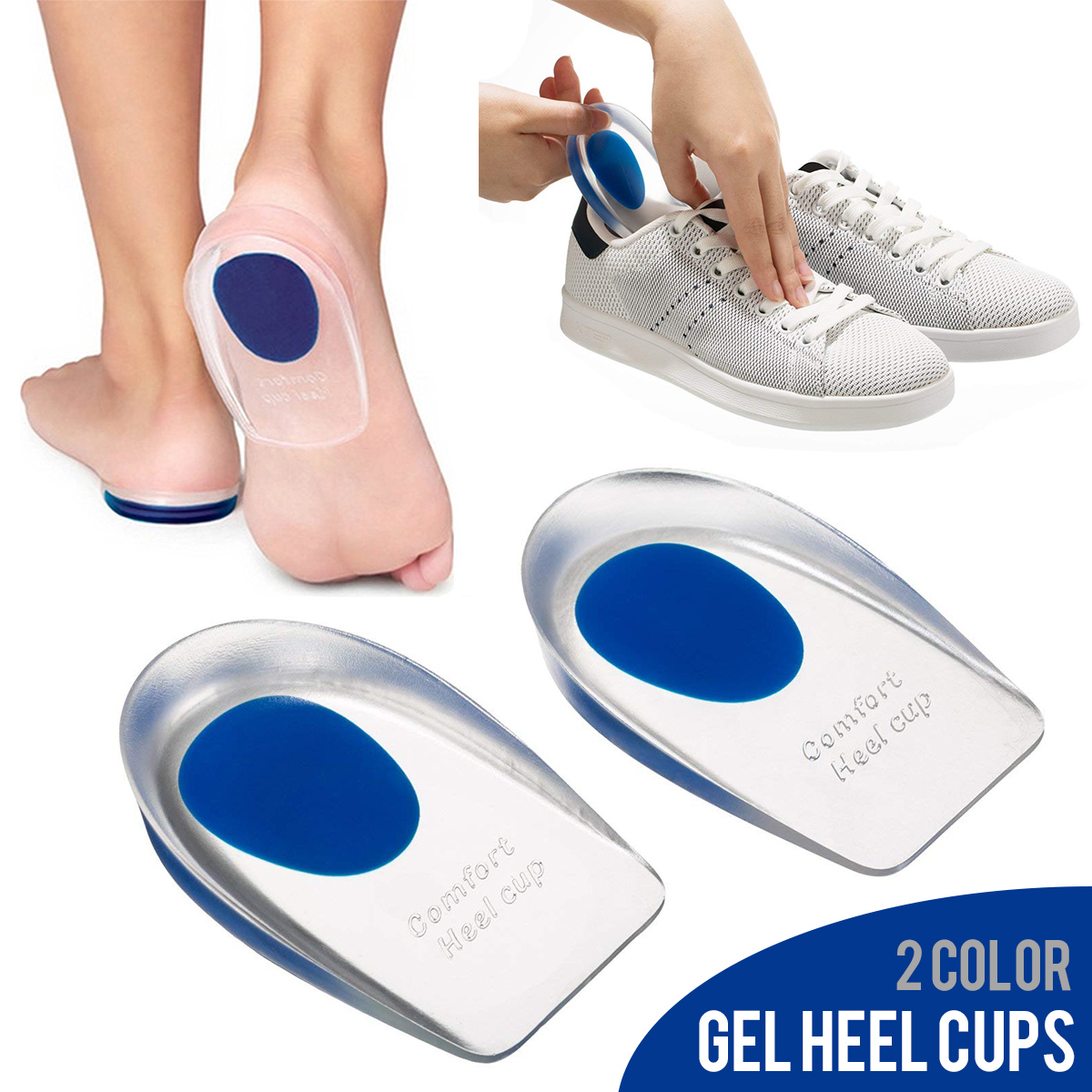 Silicone Heel Cup Pads Gel Heel Cups Plantar Fasciitis Inserts Foot Care Silica Gel Cushion Pad (Large/Small)