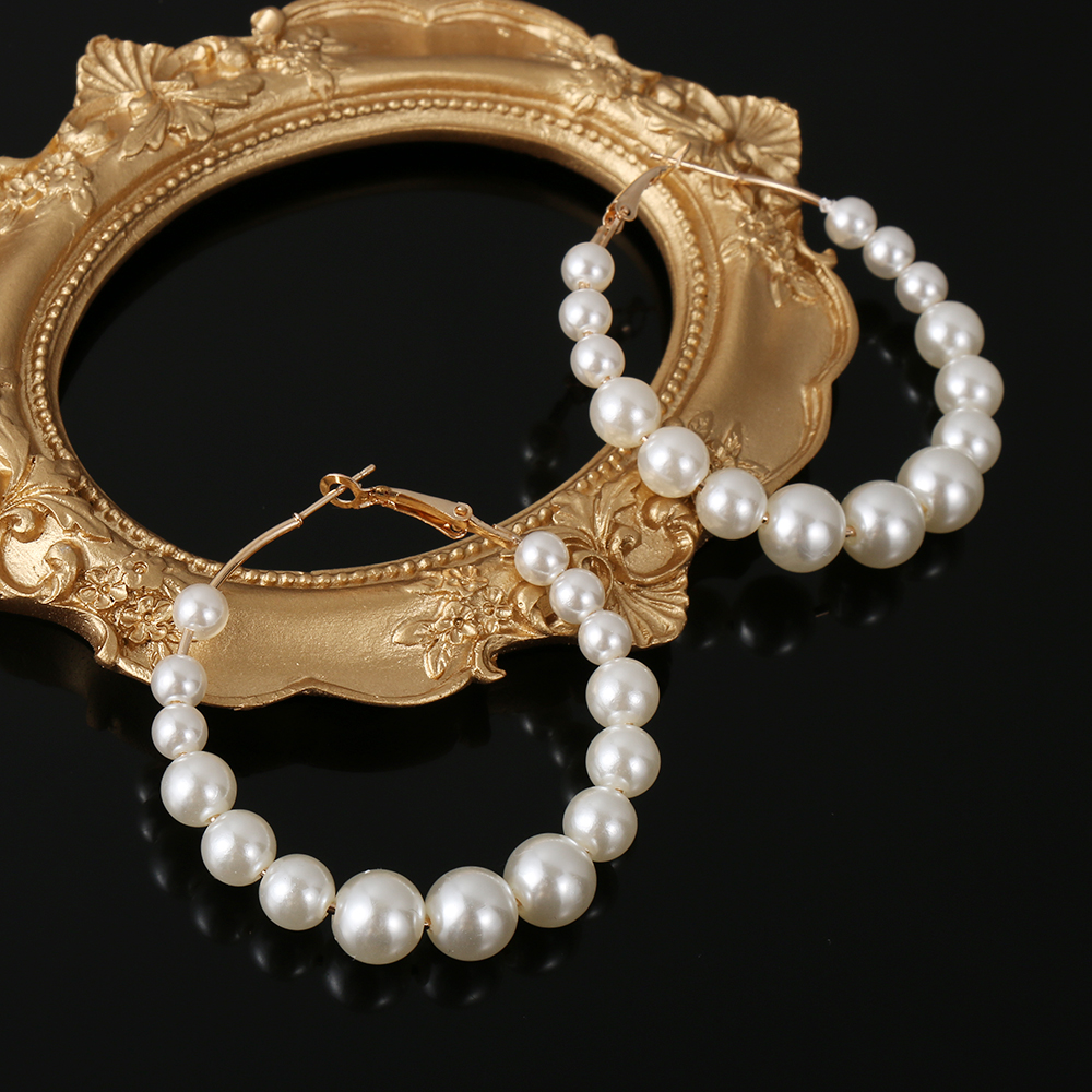 H56f4d57fffaa45feb4f2cb5e72ffebd6Y - New Boho White Imitation Pearl Round Circle Hoop Earrings Women Gold Color Big Earings Korean Jewelry Brincos Statement Earrings