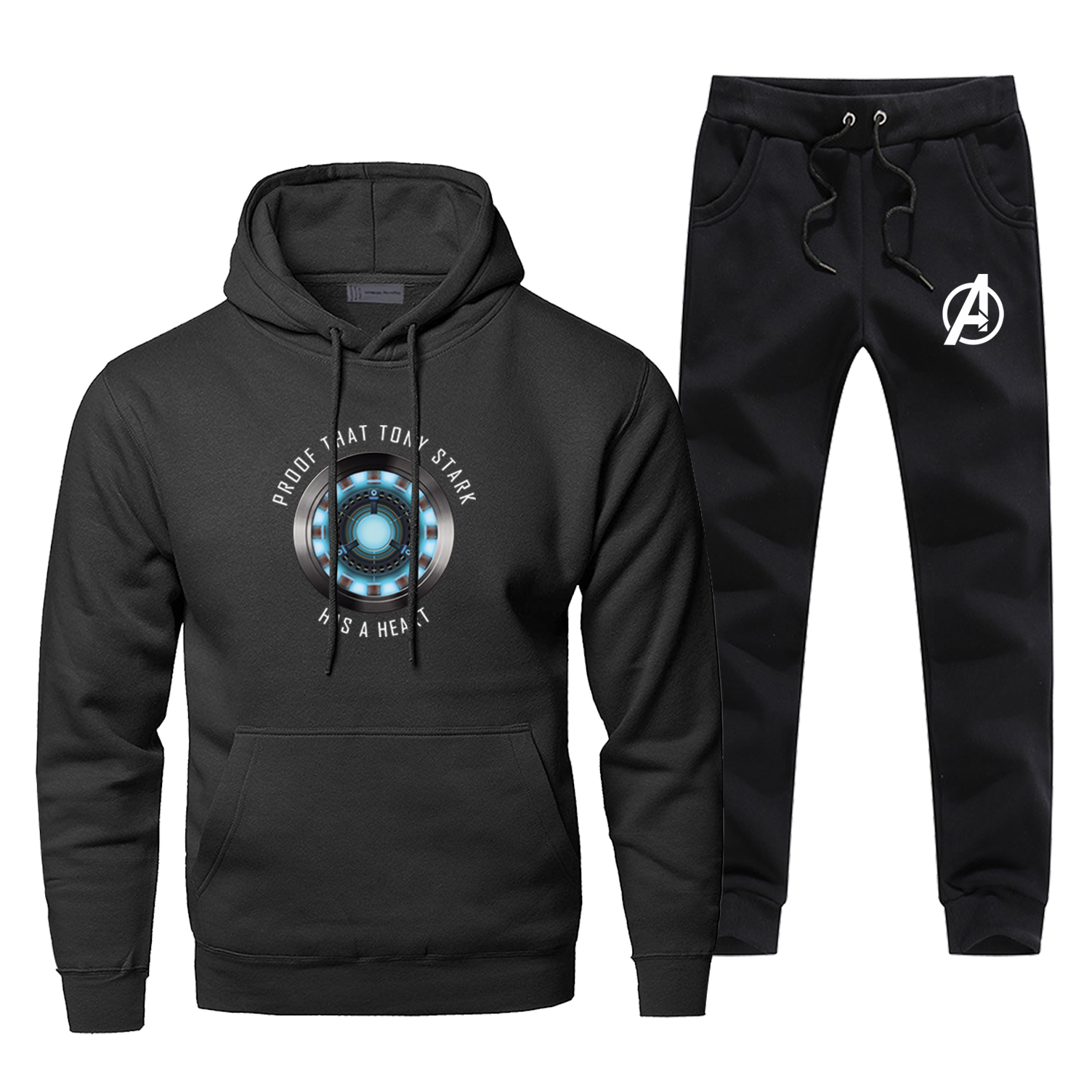New Arrival Men's Jogging Iron Man Proof That Tony Stark Has A Heart Male Set Cosplat The Avengers Hoodies Fashion Casaul Pants