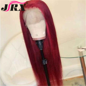 JRX Straight Human Hair Wigs Brazilian Remy Hair Pre Plucked Lace Front Human Hair Wig For Women Red Blue Color Long Wigs(China)