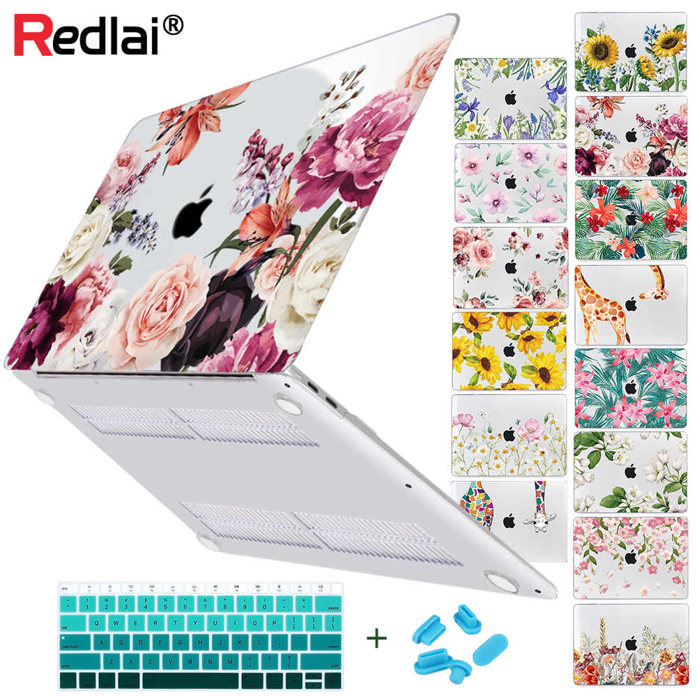 Bloemen Soft-Touch Plastic Hard Shell Case Cover Voor Macbook Air Pro Retina 11 12 13 15 16 Inch touch Bar 2020 A2179 A2289 A2159
