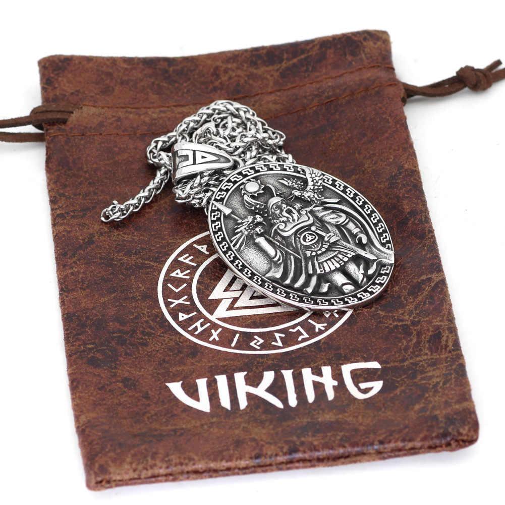 Nordic Viking amulet odin gezicht wolf Geri Freki Raven Amulet Rvs Ketting met Valknut Rune Gift Bag